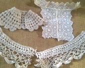 Victorian Doll's Costume Lace and Applique Caplet Apron Off White French Cotton Handmade #sophieladydeparis