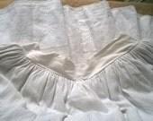 Long Extra Wide Peasant Skirt White Cotton Quilted Handmade French Prairie Skirt Costume Wedding Boho Skirt