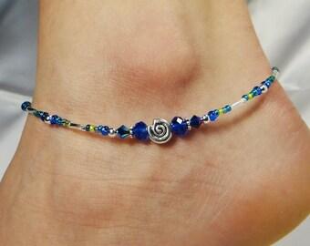 Anklet, Ankle Bracelet, Blue Anklet, Crystal Anklet, Sea Shell Anklet, Minimalist Anklet, Minimalist Jewelry, Beaded Anklet, Ankle Jewelry