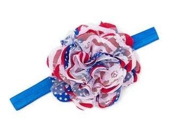 American Flag Flower Headband