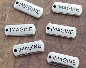 10 IMAGINE Charms IMAGINE Pendants Antiqued Silver Tone  8 x 21 mm