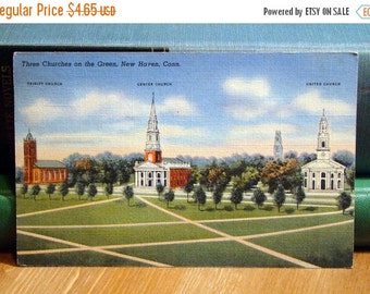 SALE Vintage Postcard, Three Churches, New Haven, Connecticut 1940s Linen Paper Ephemera