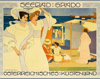 Italy Austria Grado Travel Poster Print, 1906