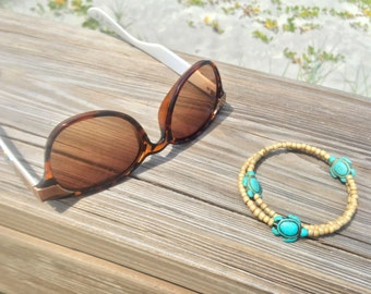 Turquoise Turtle Memory Wire Bracelet