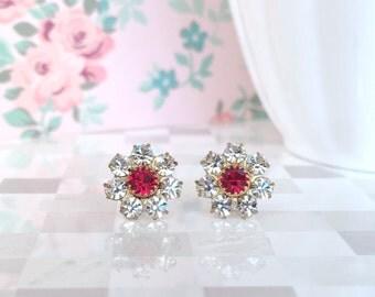 Christmas Earrings | Sterling Silver Xmas Earrings | Xmas Stud Earring | Christmas Stud Earring | Flower Earrings | Red and White Earring