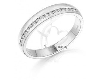 Diamond Eternity Wedding  Rings, Womens 14K White Gold  Diamond Wedding Bands,Anniversary Wedding Rings,Matching Wedding Bands