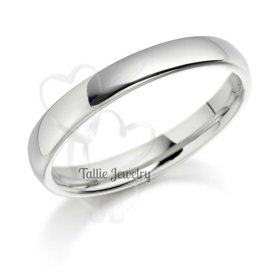 14K White Gold Wedding Band Ring 4MM Wide Sizes By TallieJewelry