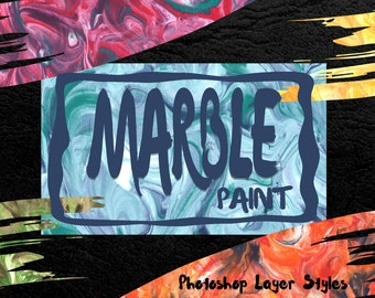 Marble Paint Styles for Photoshop - PSD Layer Styles - Add a marble effect to any text - includes 100 styles and 20 photoshop brushes