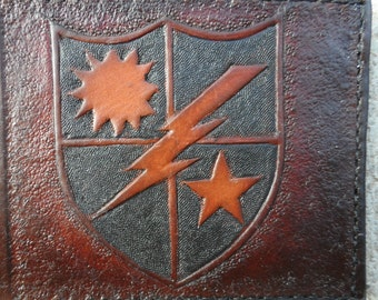 Personalized Genuine Leather Bi Fold Military Wallets - Brown or Black - Hand Tooled and Hand Sewn
