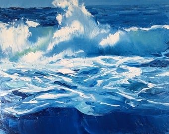 Original Oil Painting Sea Waves