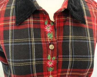 Red Plaid Flannel . Black Velvet Collar . LG 1X Plus . Long Sleeve . Button Up . Cotton . 44 to 48 bust