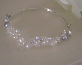 Bridal freshwater pearl bangle
