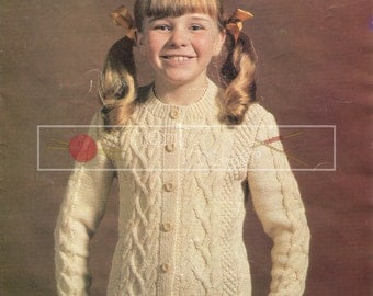 abea6ad2cb90d Childrens Cable Cardigan 6-10 years DK Sirdar 4014 Knitting Pattern PDF  instant download