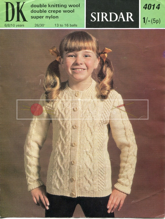 Childrens Cable Cardigan 6-10 years DK Sirdar 4014 Knitting Pattern PDF instant download