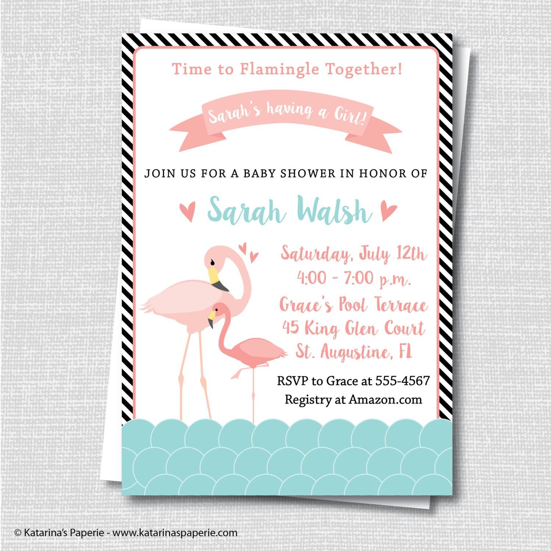 flamingo baby shower invitation flamingo themed baby shower