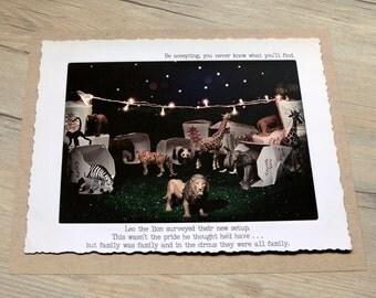 11x14 Night Circus Wall Art • Humorous Print • Circus Art •  Witty Wall Art • Gifts Under 20 • Circus Animal Print • Miniatures