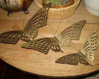 "1970s METAL BUTTERFLY LOT Vintage Brass Wall Hangings Can Free Stand And Can Be Painted Set 14"", 12"" & 9"" Hippie Retro Mod Boho Decor"