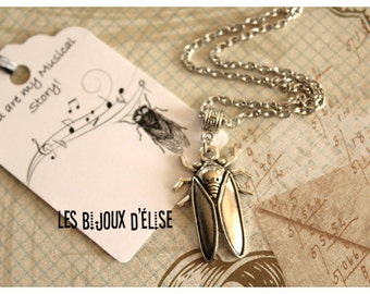 Personalized Cicada Charms Necklace Antique Silver