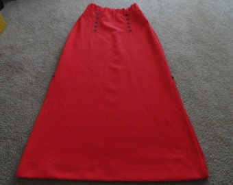 Size 12 red balck skirt 34 inch waist 44 in length