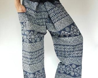 MH0010 Unique Indigo Thai Fisherman Pants Wide Leg pants, Wrap pants, Unisex pants, tiedye