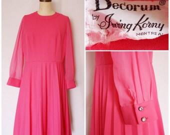1960s Hot Pink Sheer Sleeve Dress