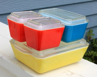 Vintage Primary Color Oven Refrigerator Set by Pyrex