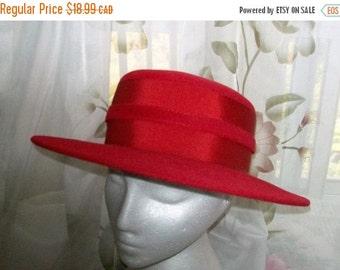 Womens vintage dress hat-red hat -fur felt hat - Anita Pineault-21 inch- formal hat -hats-red dress hat