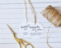 Happily Ever After, Personalised Wedding Favor Tag, Round Gift Tag, Pack of 10, 20, 50, 100, 200, 300, Black and White Tag, Kraft Tag