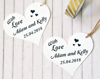 Personalised With Love Gift Tag, Large Heart Gift Tags, Wedding Gift Tag, Bonbonnieres Tag, Personalised Wedding Gift Tag, Custom Colour