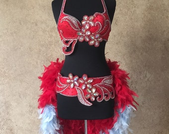 Pick Size-Fire and Ice 2pc Rhinestone Beaded Bra Feather Bustle Theater Showgirl Costume Moulin Burlesque Carnival