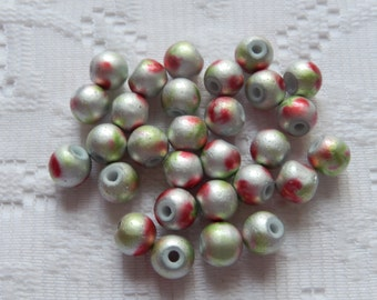 25  Silver Red & Lime Green Electroplated Round Glass Beads  8mm