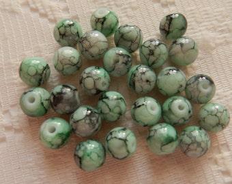 26  Light Aqua Green & Black Splattered Veined Round Ball Glass Beads  8mm