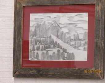 Framed Covered Bridge scene pencil  drawing