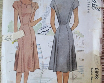 "Vintage Sewing Pattern McCall's 6898 Women""s Dress 1940s Bust 33"