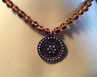 """Very nice vintage glass beaded necklace 16"""" with 1 1-2"""" pendant very nice"""