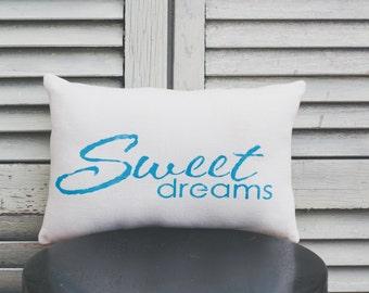 Sweet Dreams Decorative Pillow Decor Pillow Simple Pillow burlap pillow fabric pillow 14x9 pillow