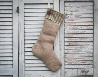 Handmade Burlap Christmas Stocking with Sage and Green Striped Cuff and Bell Personalized Christmas Stocking Name Tag