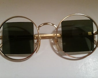 Vintage Round HippieGold Frames with Green Square Lenses Sunglasses, Groovy Round Hippie Sunglasses, Funky Round Frames with Square Lenses