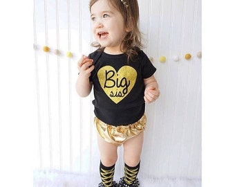 BIG SIS Bodysuit / Toddler Tee or Tank Top Sparkly Gold Glitter Heart