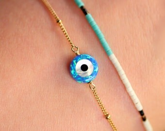 Evil eye bracelet - protection bracelet - good luck charm - tiny charm bracelet - opal evil eye necklace