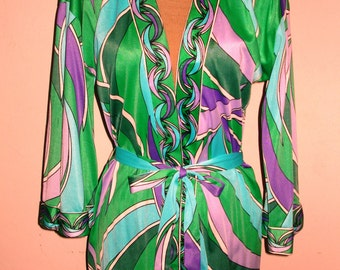 Vintage 1960s Mod Wrap Jacket Blouse Top Perfection Fit by Roxanne - Opt Art Geometric Print - Size Small