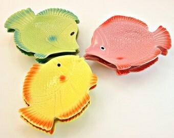 Vintage Ceramic Fish Plates, Appetizer Size Ceramic Fish Plates, Colorful Ceramic Fish Shaped Plates, Lake House Decor, Summer Snack Set
