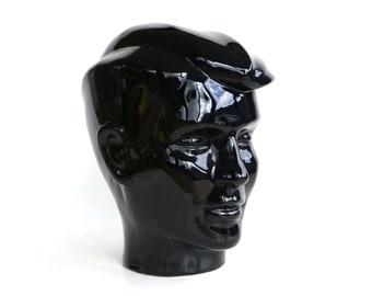 Black ceramic head male skull mannequin rare hat stand shop display 80s retro head set pottery stand wig dark blue eighties post modern