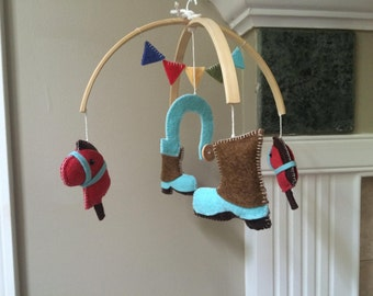 baby mobile, country baby mobile, cowboy baby mobile, cowgirl baby mobile, horses, cowboy boots, horseshoe, cowboy nursery, country baby