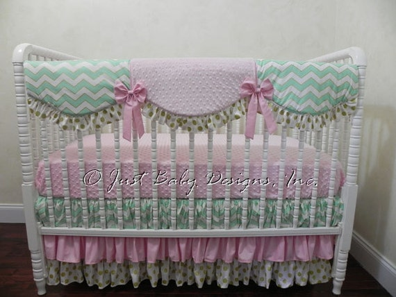 Baby Girl Bedding Set Mallory Pink Mint And Gold Baby