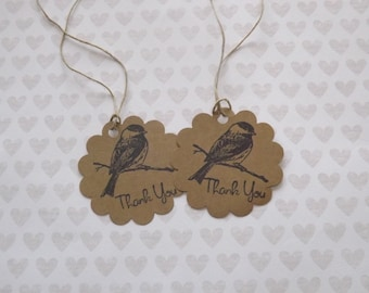 Wedding Favor Tags- Hand Stamped Thank you Tags - SET OF 25