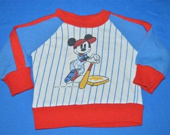 80s Mickey Mouse Disney Baseball Stripe Kids Sweatshirt 18 Months