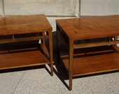 Pair 1960's Lane Tuxedo Bowtie Walnut End Tables Rosewood Inlay