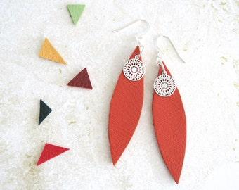 makeforgood, Orange Earrings, Leather Drop Earrings, Sunburst Earrings, Orange Jewellery, Leather Jewellery, Gift for Women