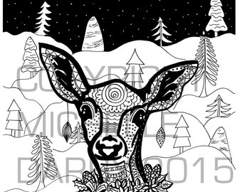 Christmas Doe Eyed Colouring Page